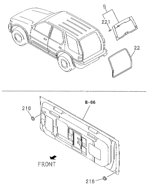 Honda online store : 1998 passport rear windshield
