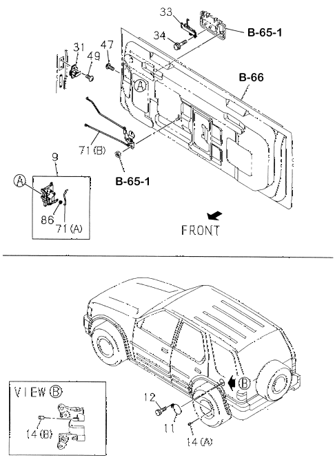 Honda online store : 1998 passport tailgate components