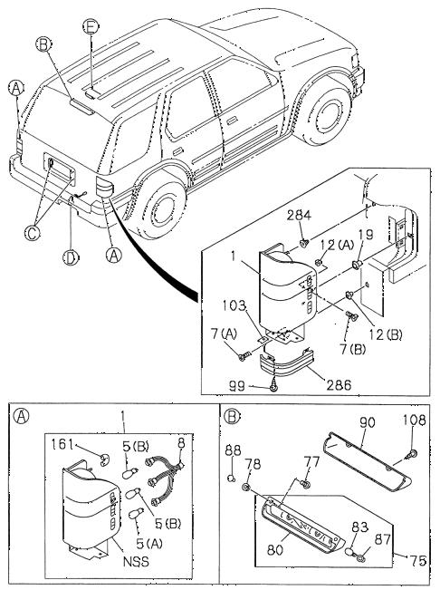 Honda online store : 1998 passport taillight (1) parts