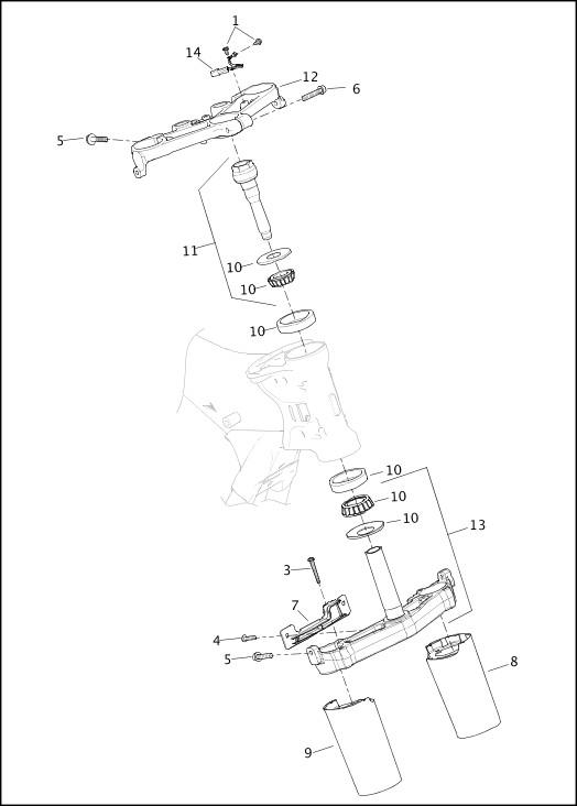 2020 FLHTKSE Model Parts Catalog FORK BRACKETS, FRONT