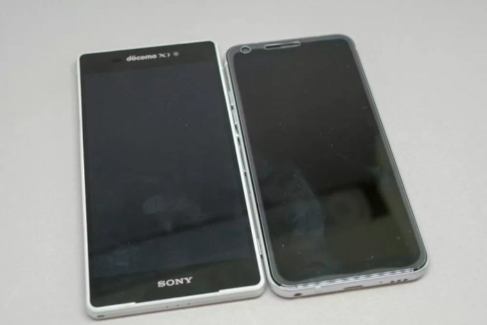 左が「Xperia Z2」、右が「LG style L-03K」