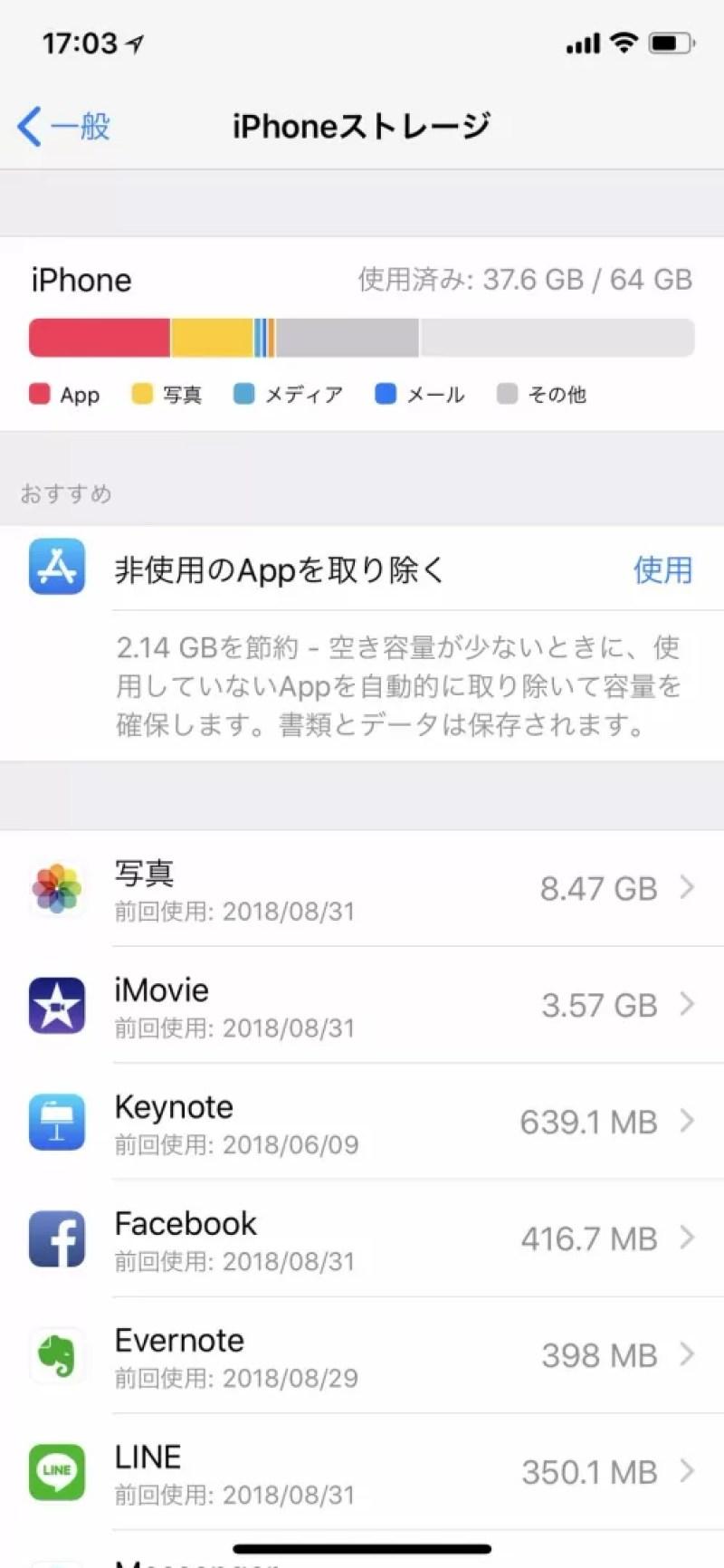 iPhone X 64GBを約1年使ったのストレージ使用状況