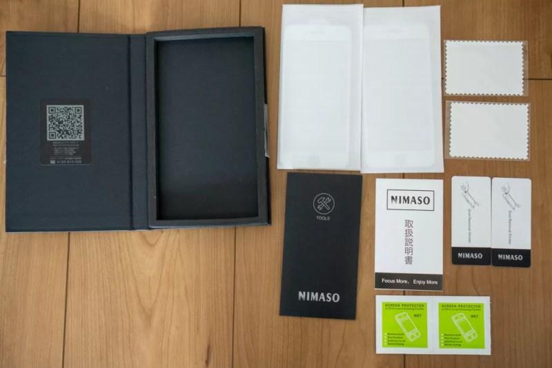 Nimaso「iPhone 8 / 7 用 全面保護フィルム」の同梱品