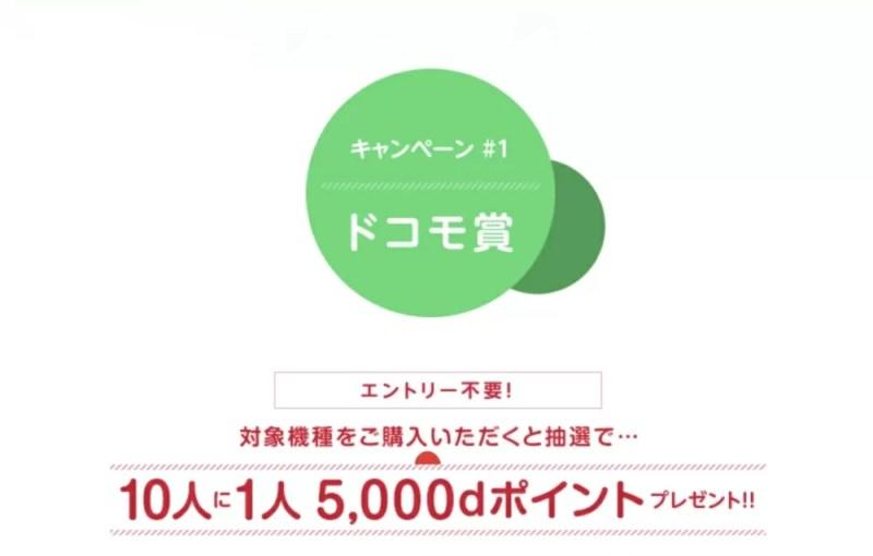 10人に1人5,000dポイントプレゼント