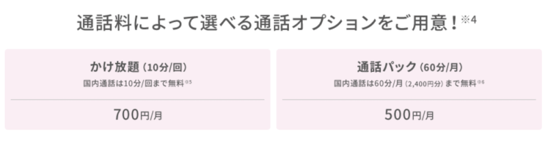 UQ mobile 2019年10月新プランかけ放題オプション