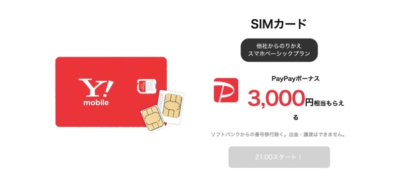 Y!mobile タイムセール SIMのみPayPay