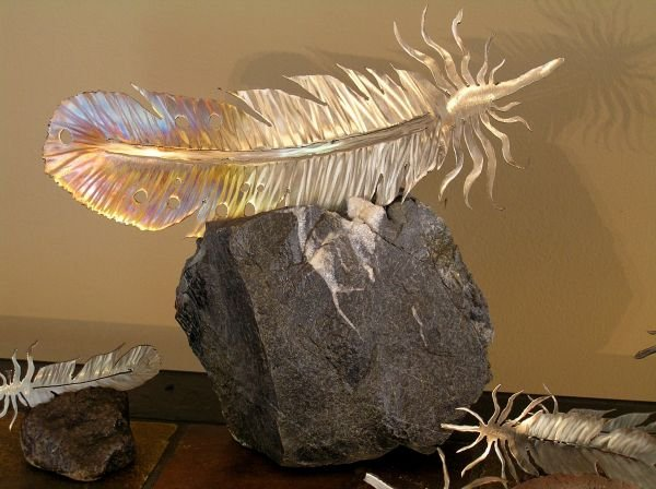 Estrada Metal Art  Feather Stone Full Size