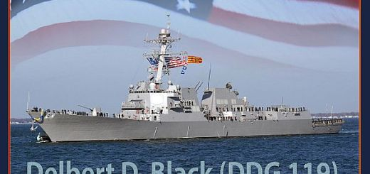 171102-N-N0101-391 WASHINGTON (Nov. 2, 2017) An artist rendering of the future USS Delbert D. Black (DDG 119). The Arleigh Burke-class guided-missile destroyer is the first ship to bear the name of a master chief petty officer of the Navy (MCPON) and is named for the first person to hold that office. (U.S. Navy photo illustration/Released)