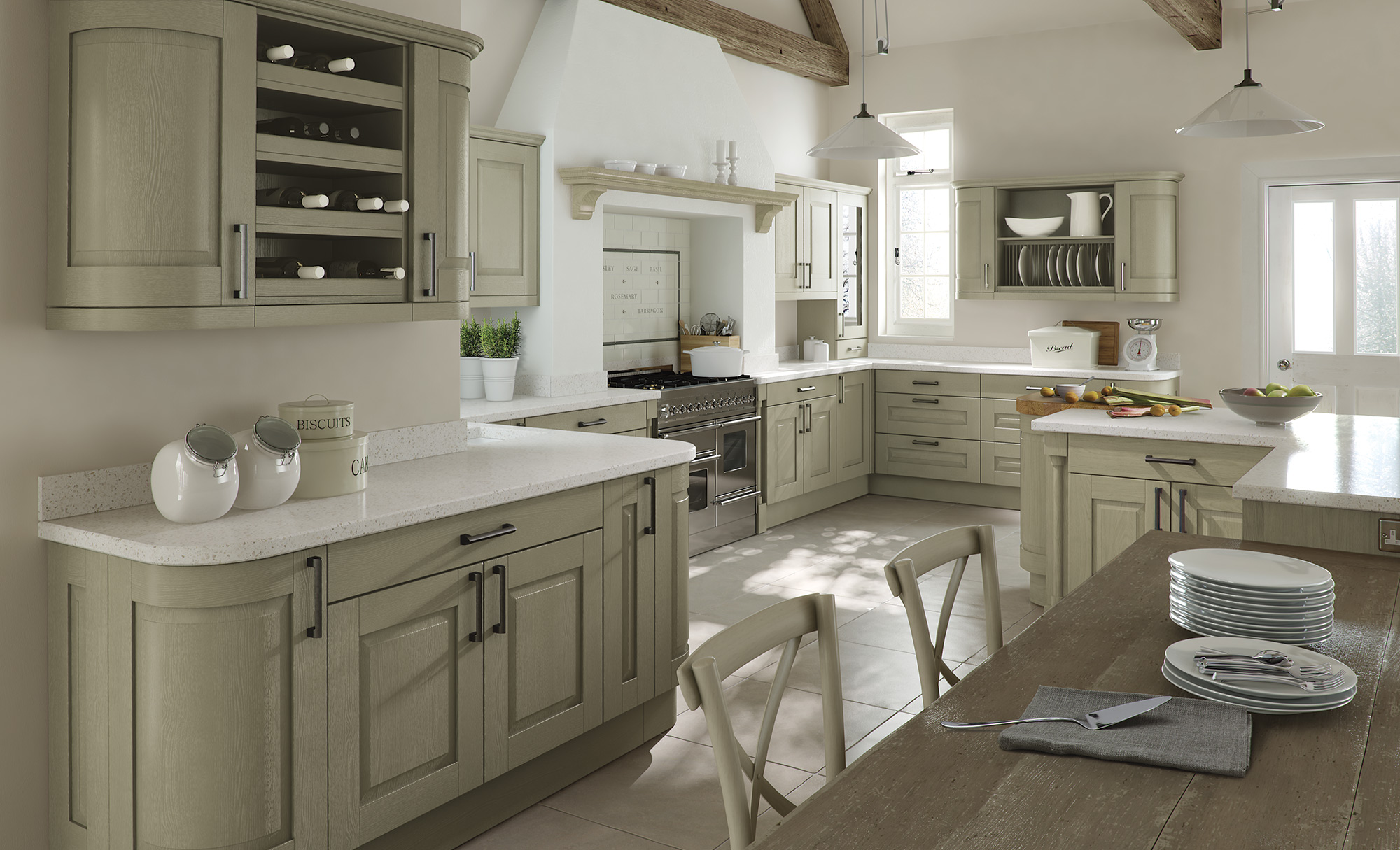 Modern Contemporary Windsor Classic Painted Sage Green Kitchen Hero Estu Kitchens