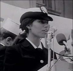 Susan Schnall, October 12, 1968 at GI's for Peace rally, San Francisco, CA