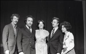 The Cast: (L to R) Paul Richards, Bob Genitzen, Nina Serrano, John Parkinson, and Judith Binder. 1976