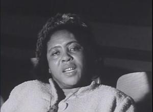 "Fannie Lou Hamer, 1963, screen shot from ""We'll Never Turn Back"" by Harvey Richards"