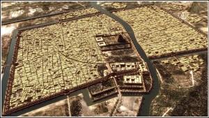 El río Éufrates pasaba por el centro de la ciudad de Babilonia.