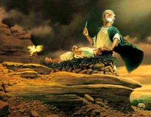 Abraham a punto de sacrificar a Isaac.