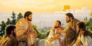 Jesús con sus discípulos en el Monte de las Olivas.