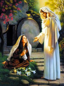 María Magdalena con Jesús resucitado.