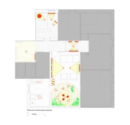 Plano de la vivienda-espacio expositivo