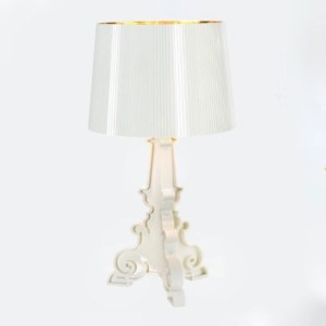 bourgie table lamp opaque white with gold interior
