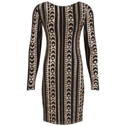 VILA Beaded Deep Back Gold Dress, $41.31