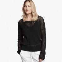 James Perse Cotton Linen Crew Black, $295