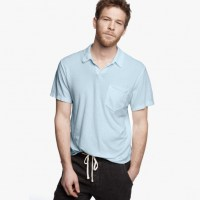 James Perse Cotton Linen Pocket Polo Shirt Blue Wash, $135