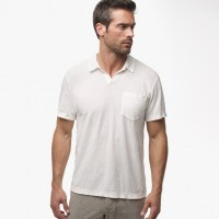 James Perse Cotton Linen Pocket Polo Shirt Ice Cream, $135