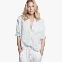 James Perse Dolman Canvas Tunic Shirt Catmint Pigment, $195