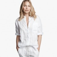 James Perse Dolman Canvas Tunic Shirt White, $195