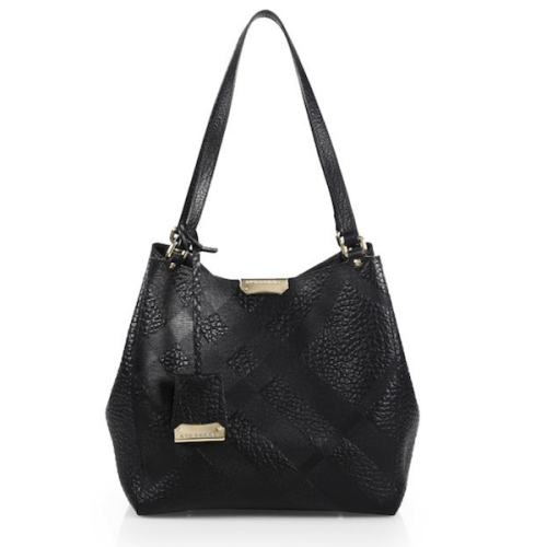 Burberry Canter Small House Check-Embossed Pebbled Shoulder Bag, $1,250