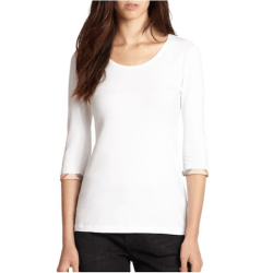 Burberry Cotton Check Cuff Top White, $125