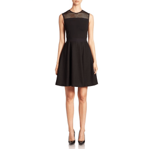 Burberry Mesh Detail Fit & Flare Dress, $1,195
