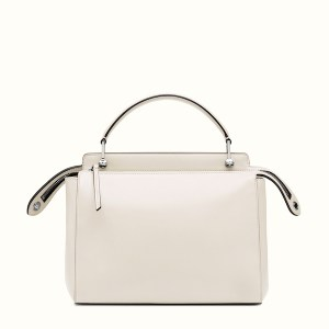 Fendi Dotcom Lace-Up Leather Satchel Back White, $2,900