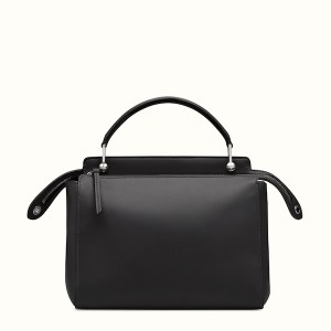 Fendi Dotcom Lace-Up Leather Satchel Black Back, $2,900