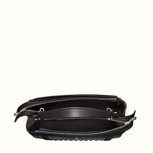 Fendi Dotcom Lace-Up Leather Satchel Black Open, $2,900