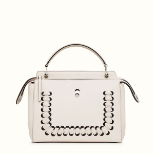 Fendi Dotcom Lace-Up Leather Satchel White, $2,900
