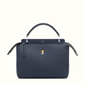 Fendi Dotcom Two Tone Leather Satchel Blue, $2,400