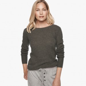 James Perse Cashmere Thermal Crew Neck Sepia, $350