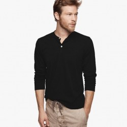 James Perse Cotton Cashmere Henley Black, $135