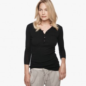 James Perse Cotton Cashmere Rib Henley Black, $165