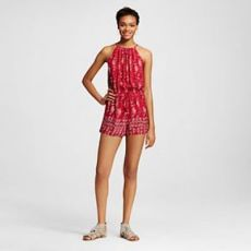 Mossimo High Neck Woven Romper Red, $22.99