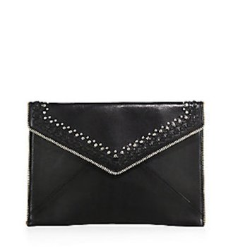 Rebecca Minkoff Leo Studded Leather Envelope Clutch Black, $125