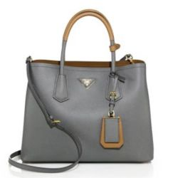 Prada Medium Bicolor Leather Satchel Gray, $2,780