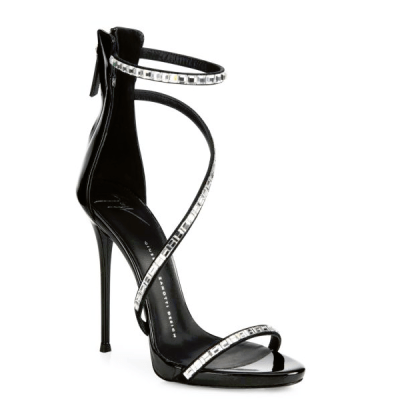 The Right Shoes for the Perfect Dress Giuseppe Zanotti Cam Nero Swarovski Crystal & Pantent Sandals, $1,195