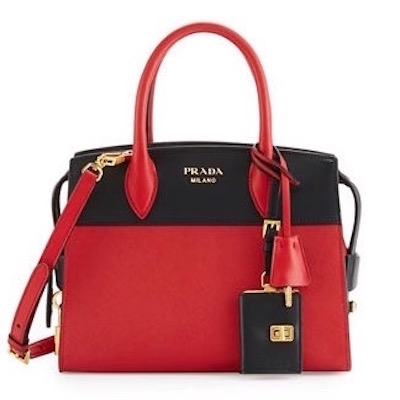 Prada Esplanade Medium Saffiano & Leather Tote Red, $2,470
