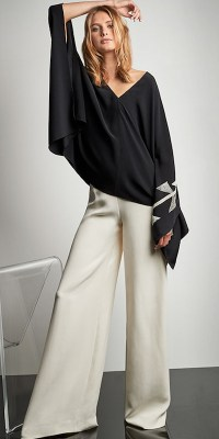 Ralph Lauren Collection Filipa Poncho, $1990; Charmain Pant, $1,690