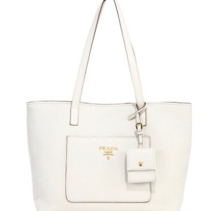Prada Daino Leather Open Tote White $1,390