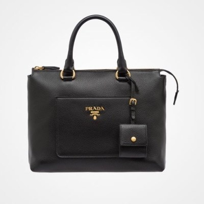 Prada Daino Zip Leather Tote Black $1,510
