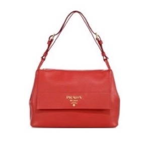 Prada Diano Leather Flap Shoulder Bag Red $2,090