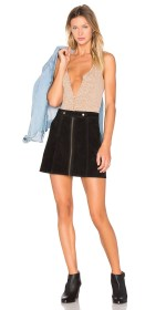X Revolve High Waist Suede Zip Skirt $141