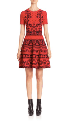 Alexander McQueen Floral Jacquard Knit Fit & Flare Dress $1,995